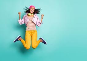 springende vrouw - femme sautante